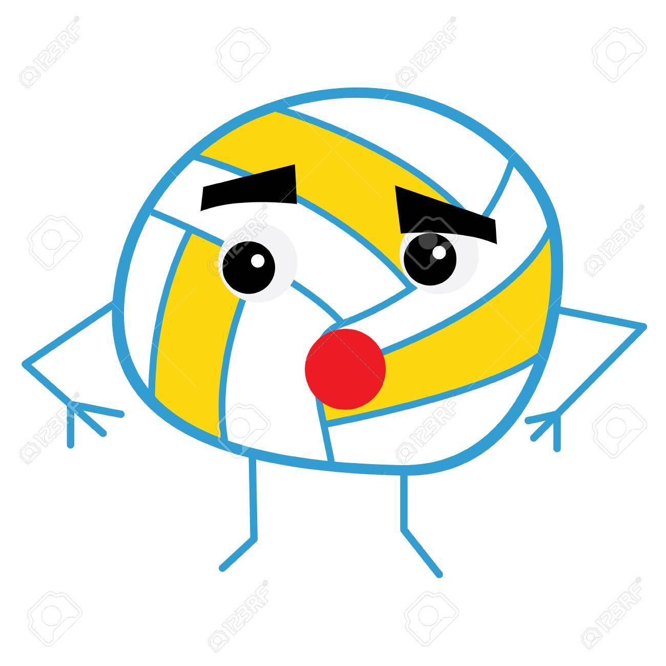 かわいいバレーボール ボール漫画のキャラクター。ベクトルの図。 写真素材 , 71453693