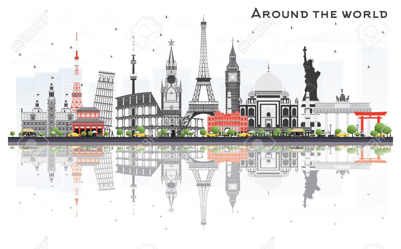 Travel Concept Around the World with Famous International Landmarks. Vector Illustration. Business and Tourism Concept. Image for Presentation, Placard, Banner or Web Site. - 74291102