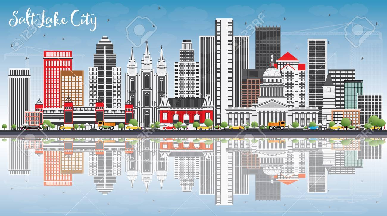 Salt Lake City Skyline with Gray Buildings, Blue Sky and Reflections. Vector Illustration. Business Travel and Tourism Concept with Historic Architecture. Image for Presentation Banner Placard and Web Site. - 77881781