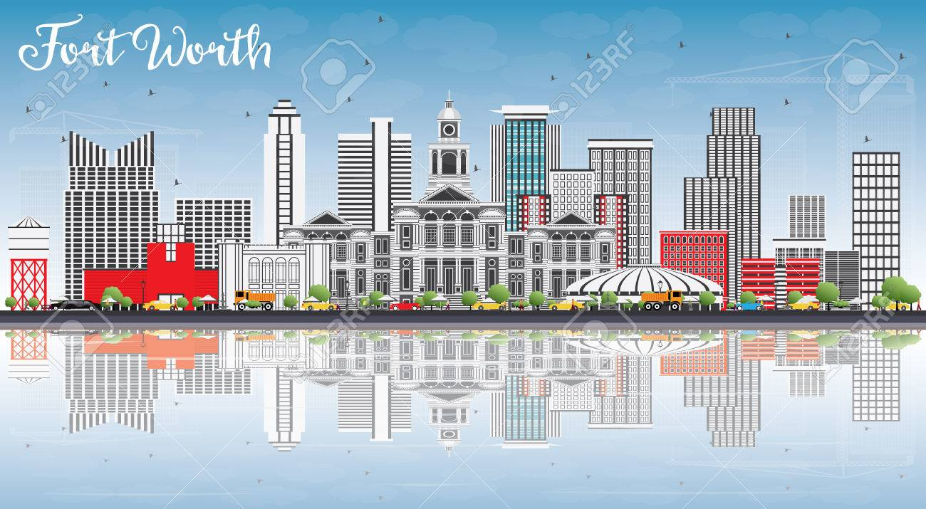 Fort Worth Skyline with Gray Buildings, Blue Sky and Reflections. Vector Illustration. Business Travel and Tourism Concept with Modern Architecture. Image for Presentation Banner Placard and Web Site. - 79750661
