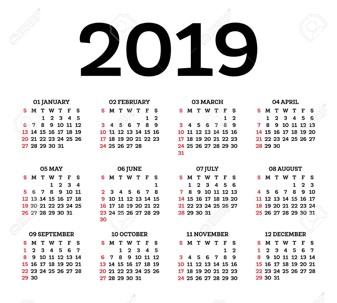 Calendario Con Week 2019.Calendar 2019 Isolated On White Background Week Starts From
