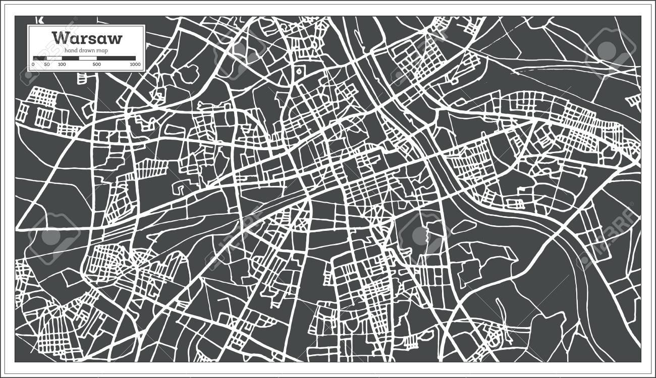 Cartina Muta Polonia.Vettoriale Varsavia Polonia Mappa In Stile Retro Illustrazione Vettoriale Cartina Muta Image 91795620