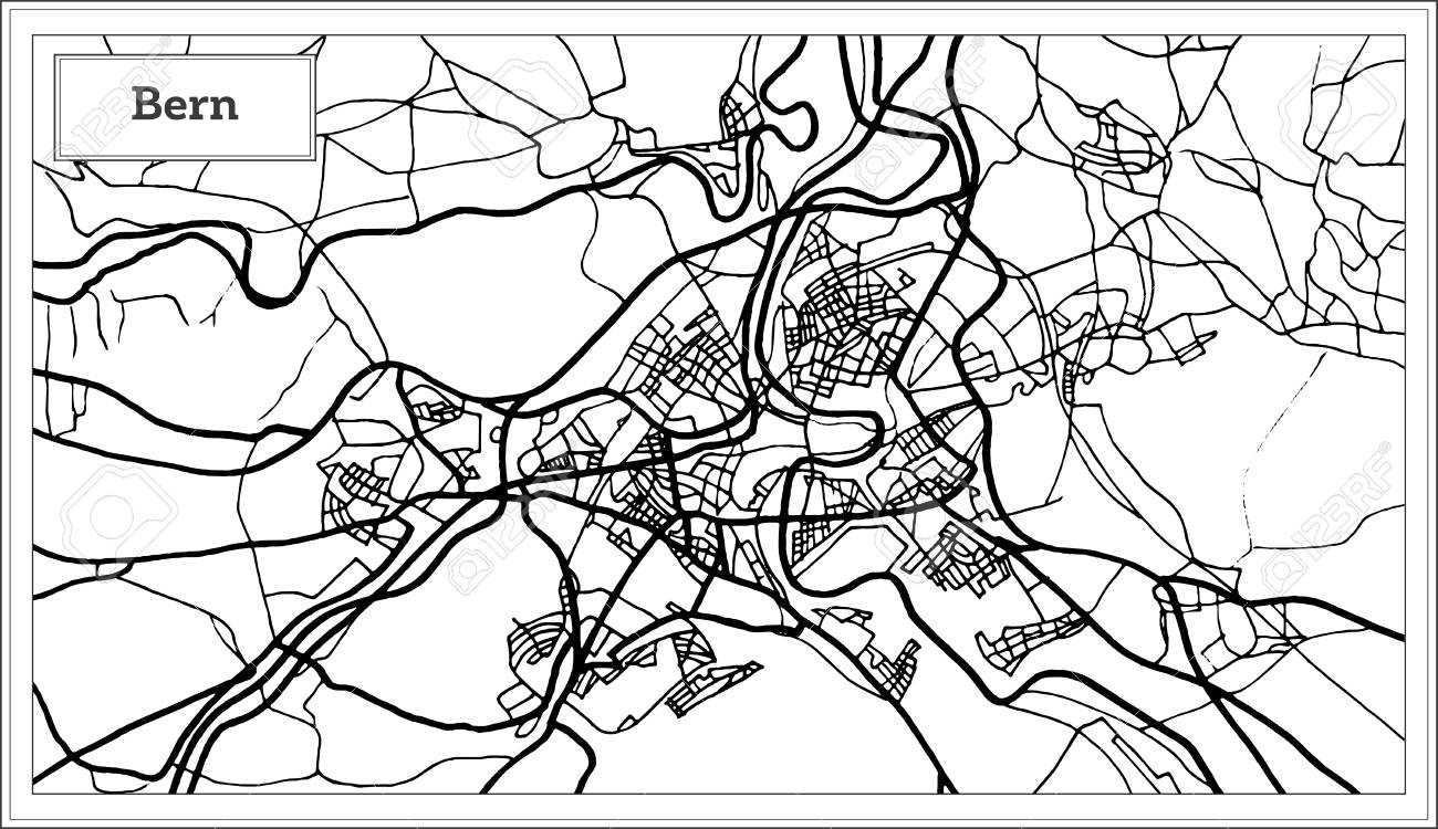 Bern Switzerland Map In Black And White Color. Vector Illustration ...