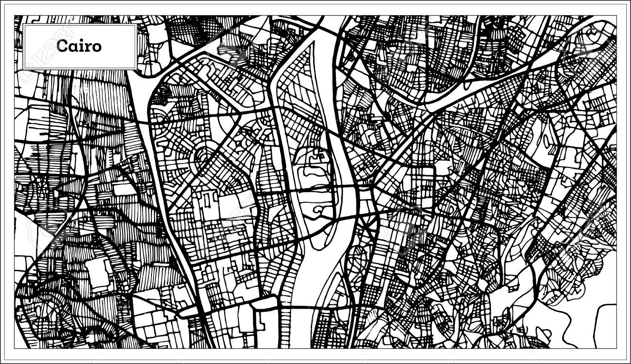 Cairo Egypt City Map In Black And White Color. Vector Illustration ...