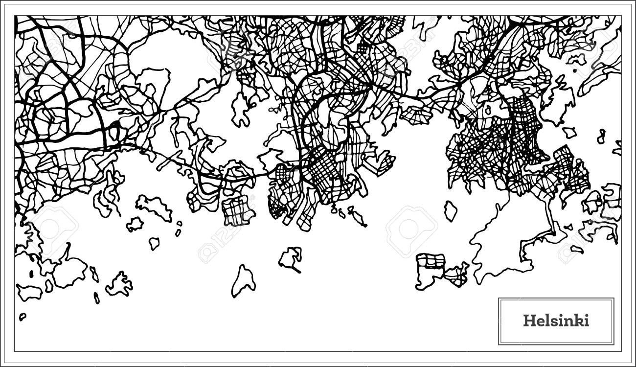 Helsinki Finland City Map in Black and White Color. Vector Illustration...