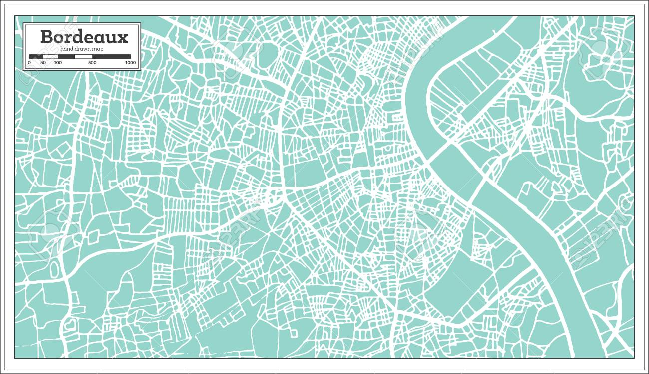 Map Of France Bordeaux.Bordeaux France City Map In Retro Style Outline Map Vector