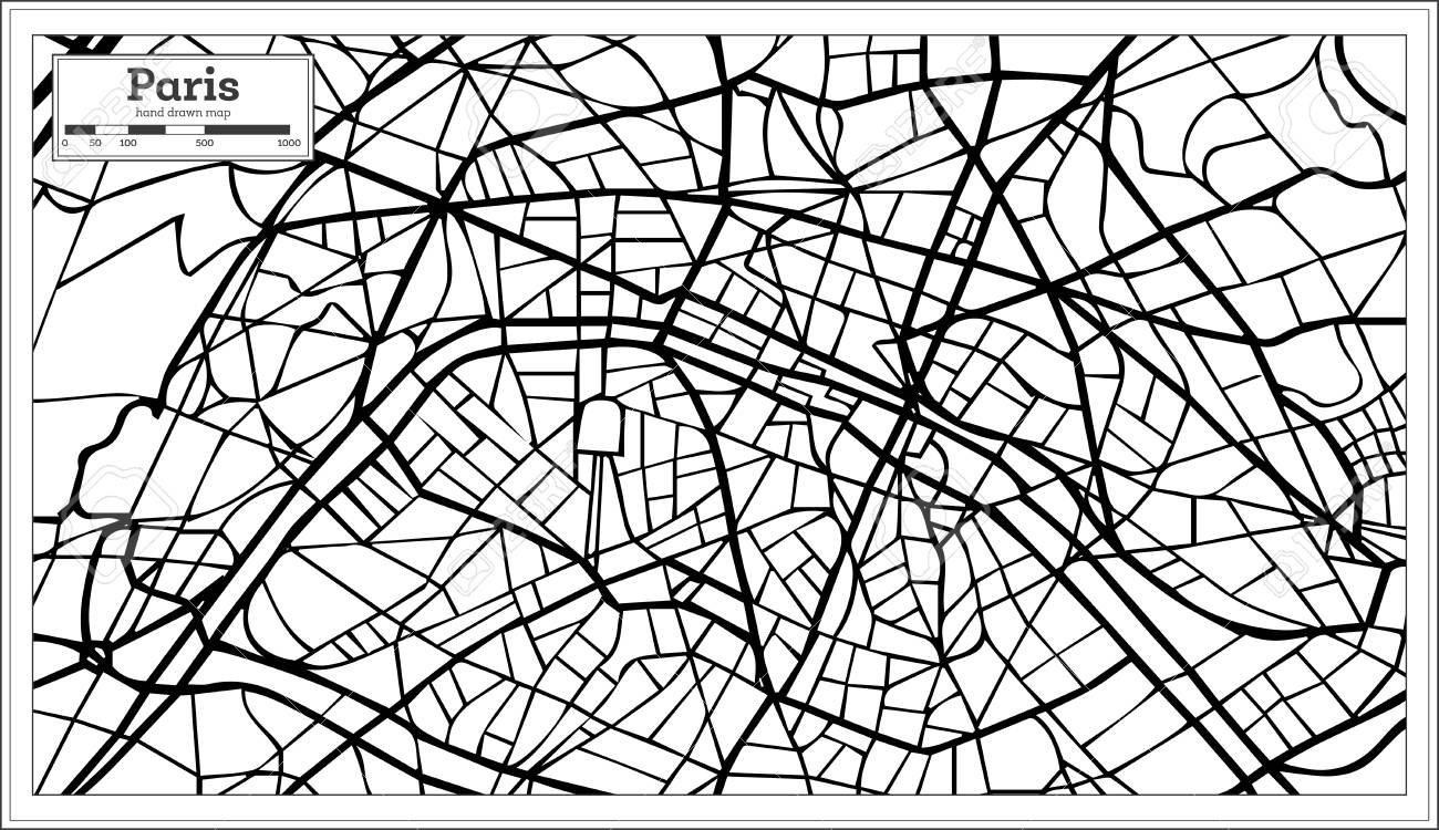 Paris Map Black And White.Paris France City Map In Black And White Color Hand Drawn Vector