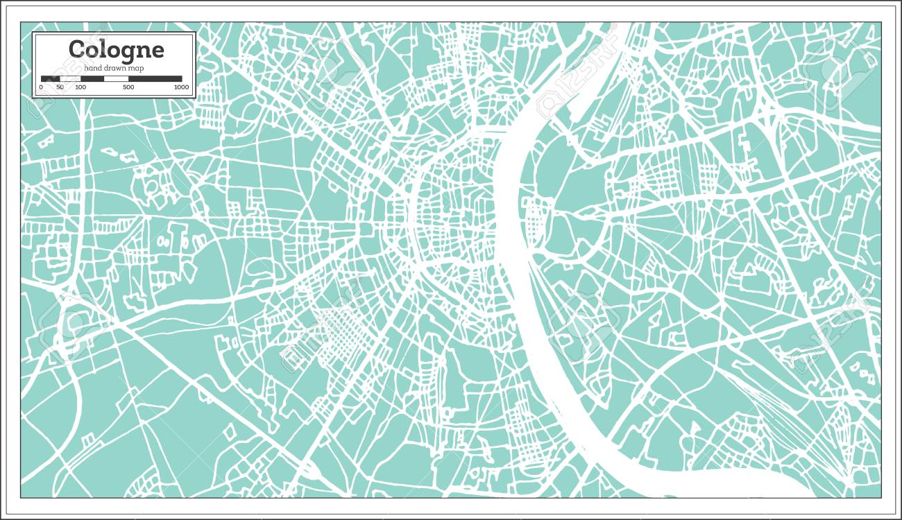 Cologne Germany City map in retro style. Outline map. Vector..