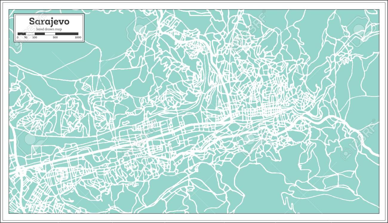 Sarajevo Bosnia And Herzegovina City Map In Retro Style Outline