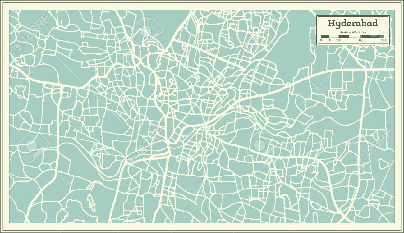 Hyderabad India City Map In Retro Style Outline Map Vector