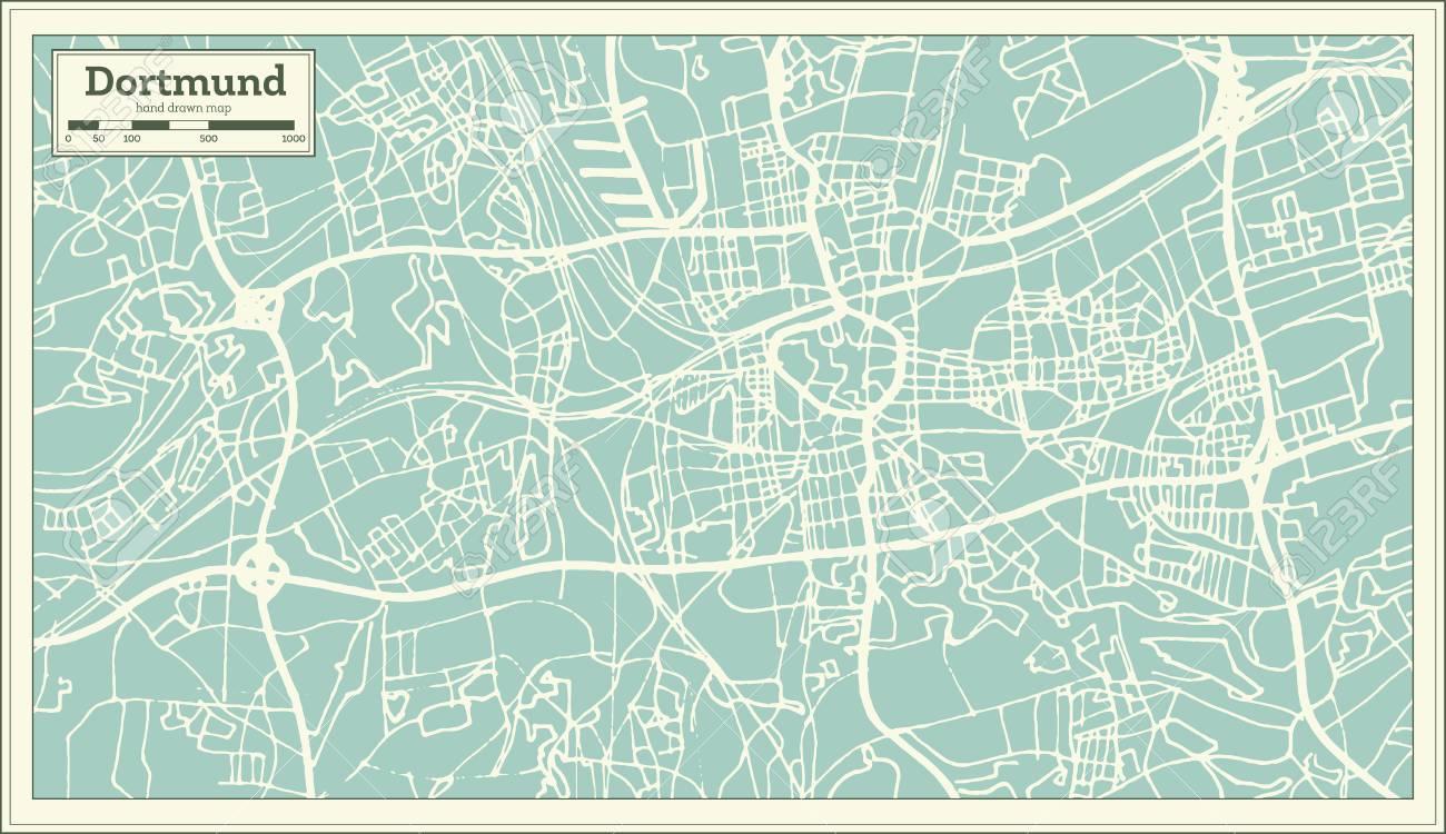 Dortmund Germania Cartina.Vettoriale Dortmund Germania Mappa Della Citta In Stile Retro Image 94683115