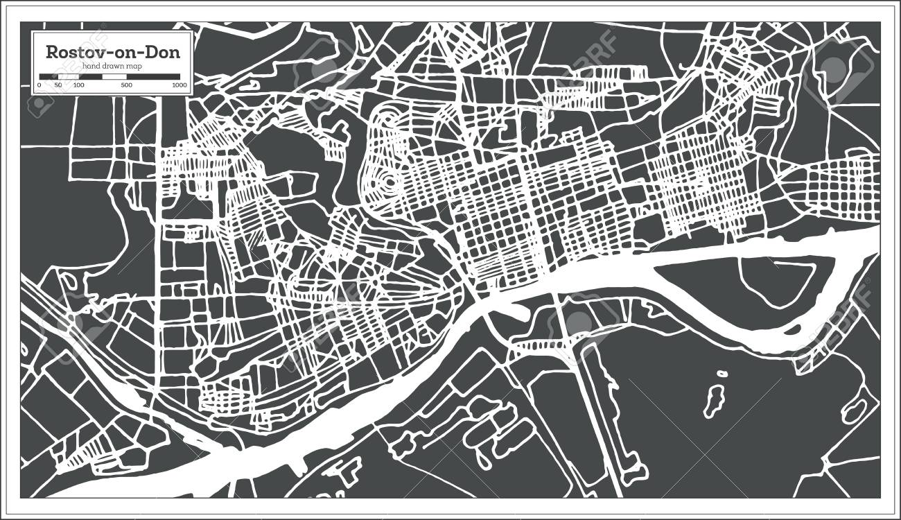 Rostov On Don Russia City Map In Retro Style. Outline Map. Vector ...