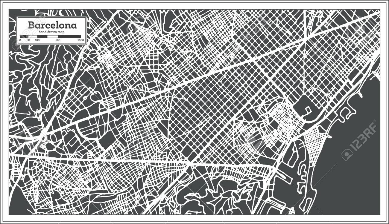 barcelona spain city map in retro style outline map vector