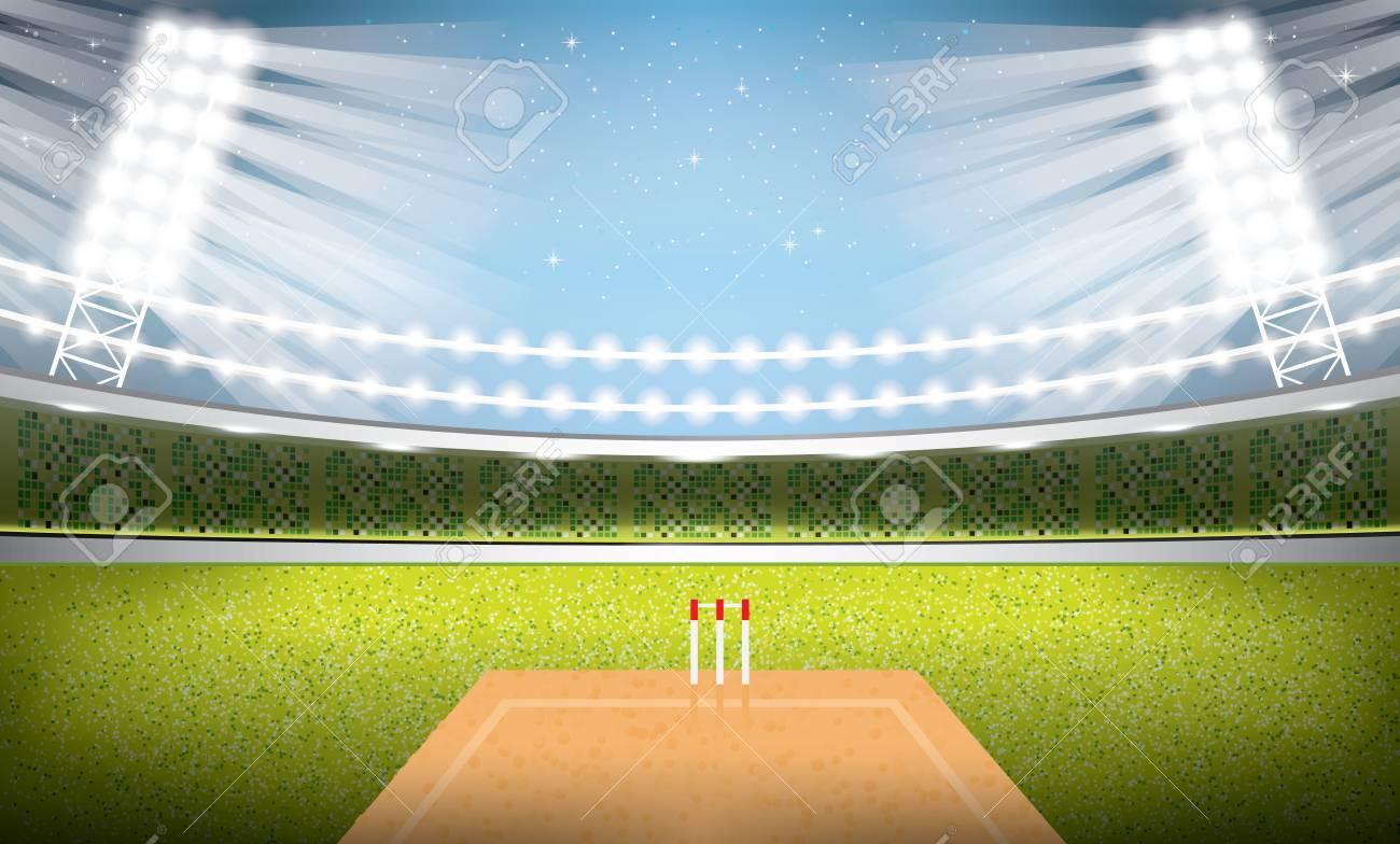 Cricket Stadium with Spotlights. Vector Illustration. - 96847713