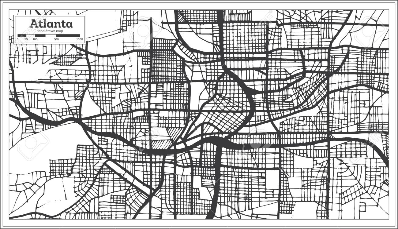 Atlanta Georgia Usa City Map In Retro Style Black And White Color