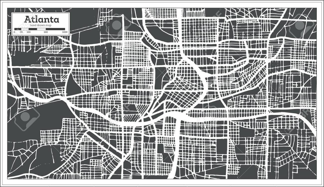 City Map Of Atlanta Georgia.Atlanta Georgia Usa City Map In Retro Style Outline Map Vector
