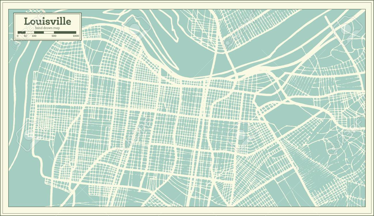 Louisville Usa Map.Louisville Kentucky Usa City Map In Retro Style Outline Map
