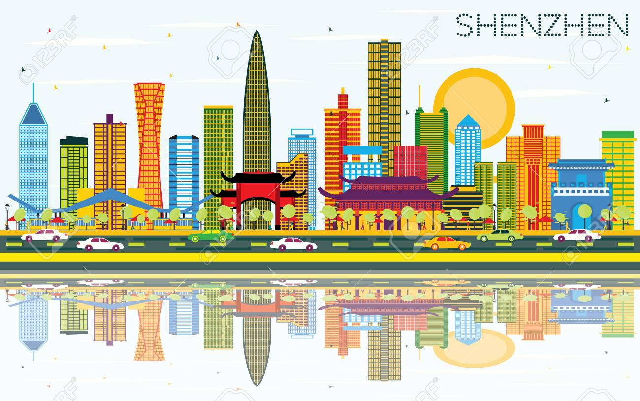 Shenzhen China City Skyline With Color Buildings Blue Sky And