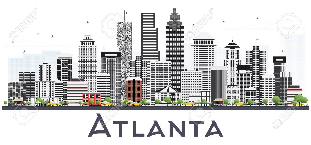 atlanta georgia usa city skyline with gray buildings isolated