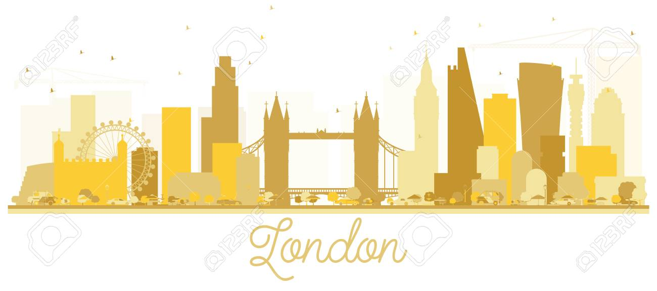 London England City Skyline Golden Silhouette Vector Illustration Simple Flat Concept For Tourism Presentation