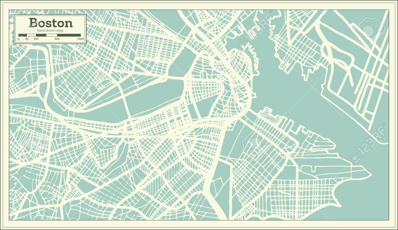 Boston USA City Map In Retro Style. Outline Map. Vector Illustration ...