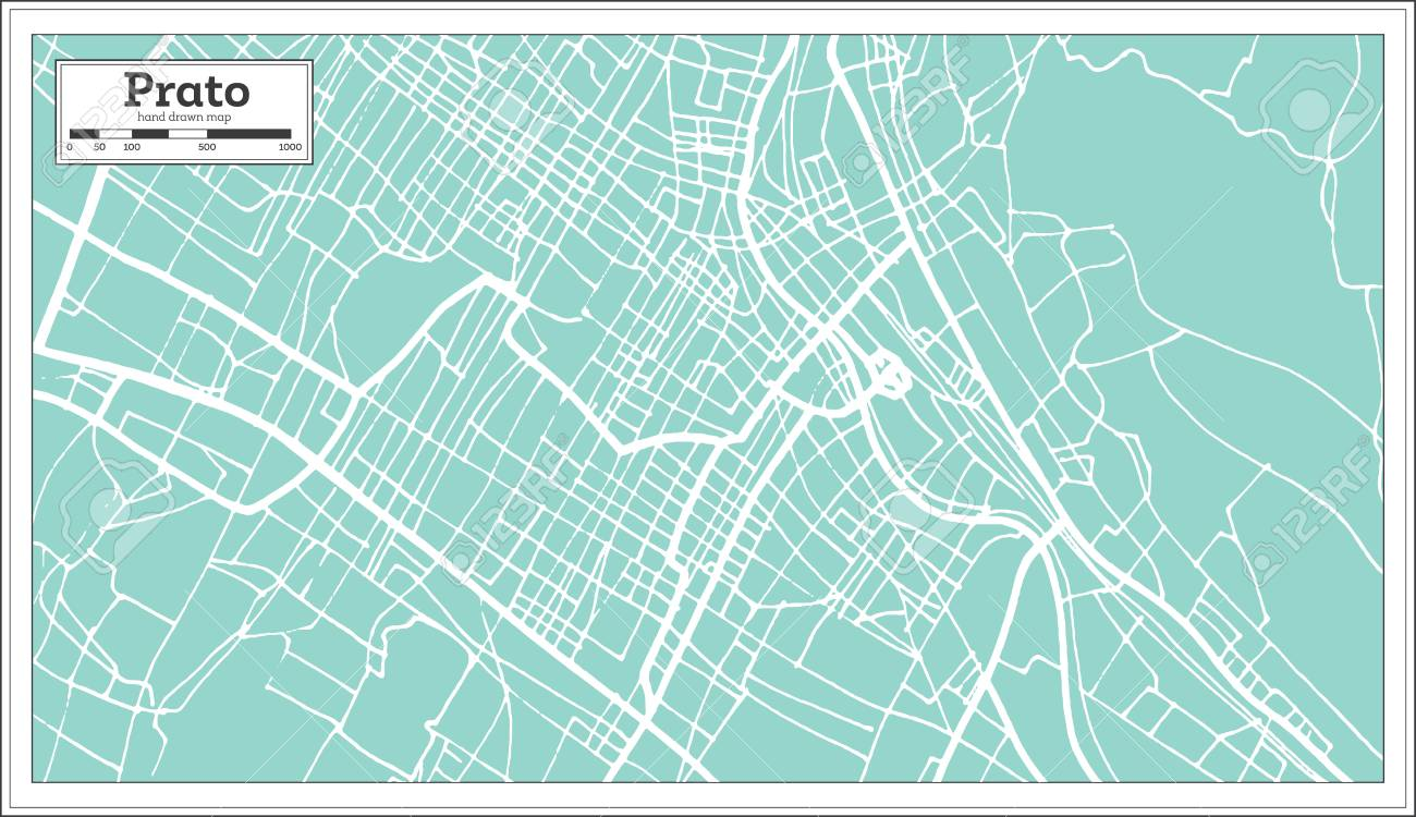 Prato Italy City Map In Retro Style Outline Map Vector