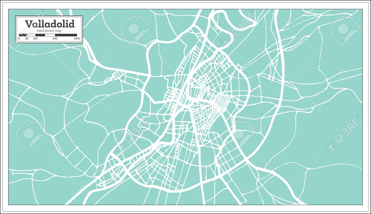Map Of Spain Valladolid.Valladolid Spain City Map In Retro Style Outline Map Vector