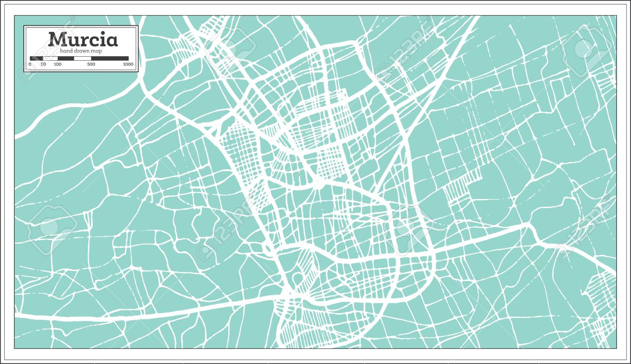 Murcia Map Of Spain.Murcia Spain City Map In Retro Style Outline Map Vector Illustration