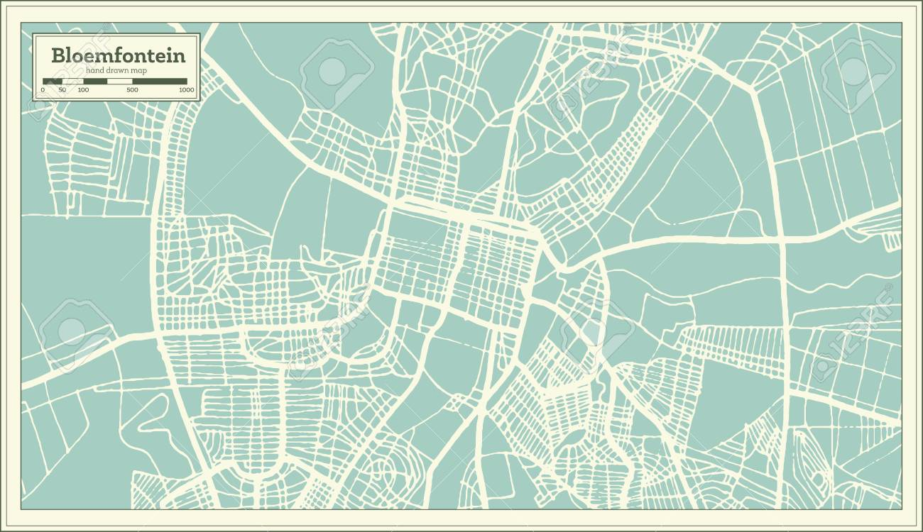 Bloemfontein South Africa Map.Bloemfontein South Africa City Map In Retro Style Outline Map