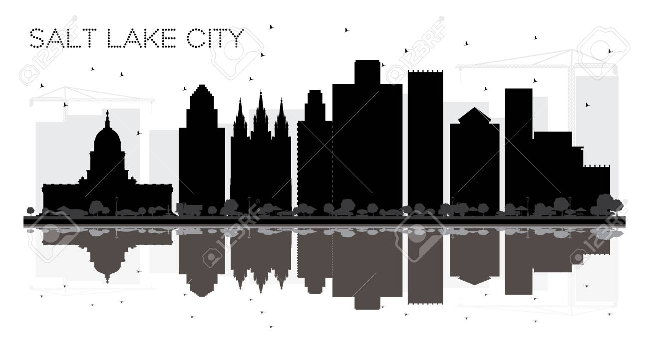 Salt Lake City Utah Skyline black and white silhouette with Reflections. Vector illustration. Simple flat concept for tourism presentation, banner, placard or web site. Salt Lake City Cityscape with landmarks. - 111745772