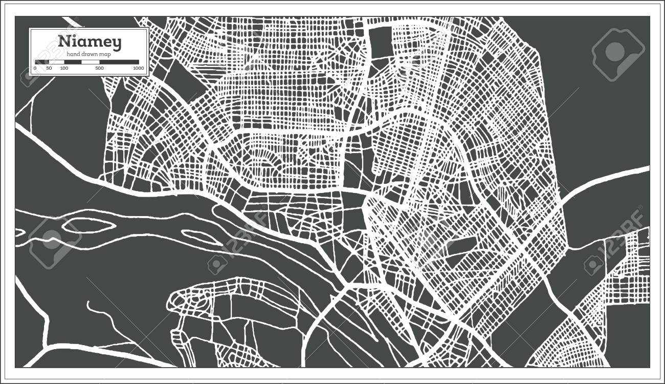 Niamey Niger City Map in Retro Style. Outline Map. Vector Illustration.