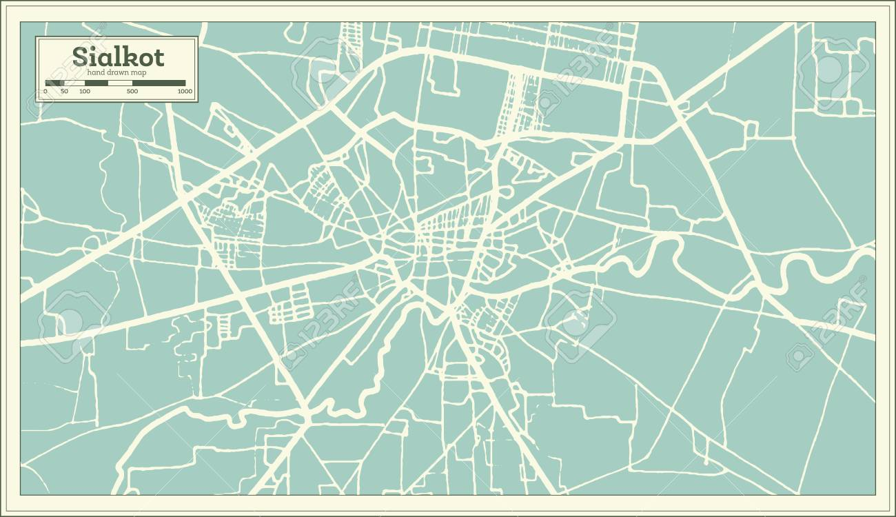 Sialkot Pakistan City Map in Retro Style  Outline Map  Vector