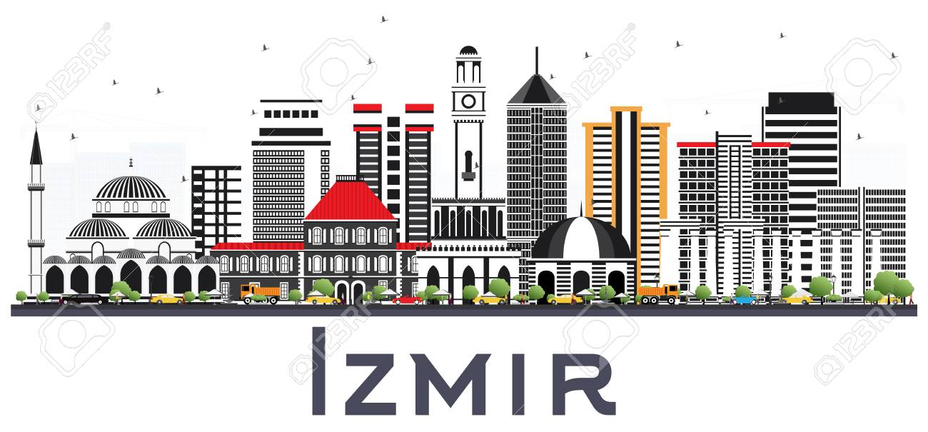 Izmir Turkey City Skyline With Color Buildings Isolated On White Royalty Free Cliparts Vectors And Stock Illustration Image 116794545