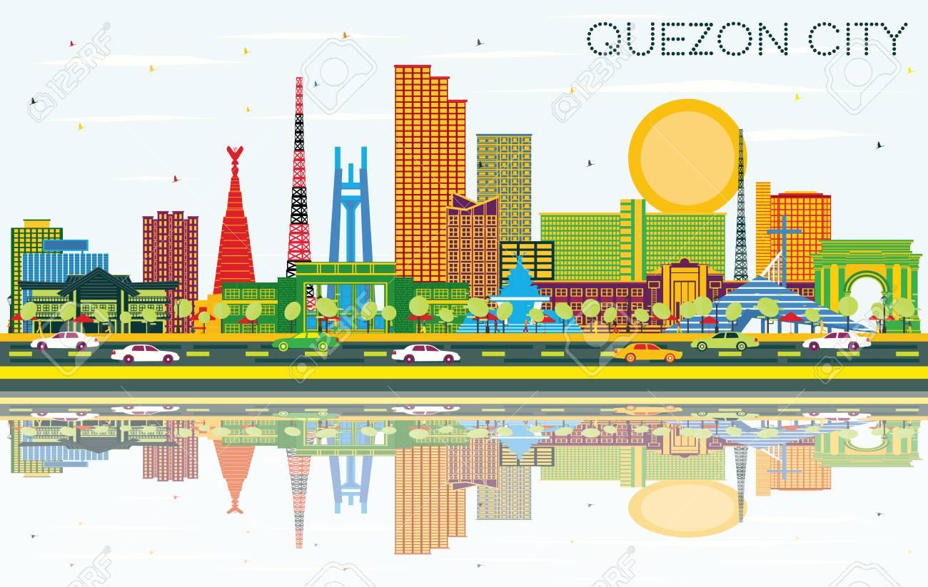 Quezon City Philippines City Skyline with Color Buildings, Blue