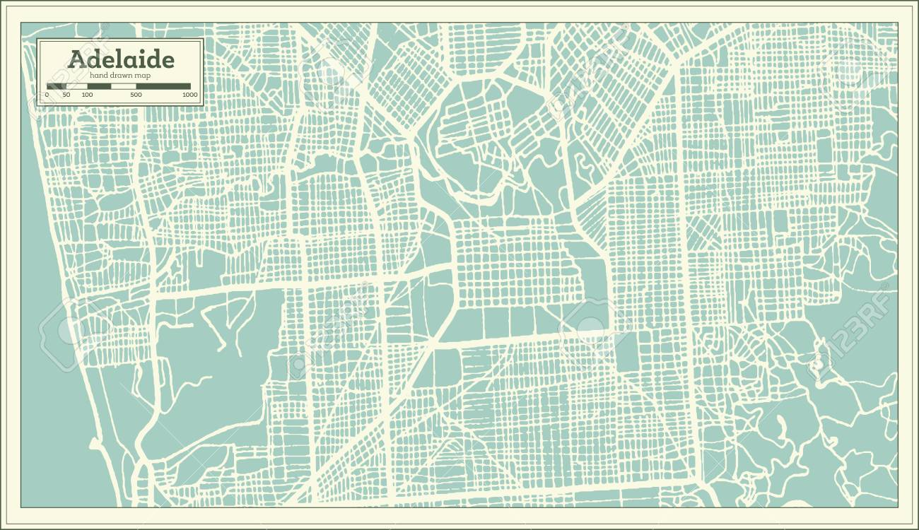 Map Of Adelaide Australia.Adelaide Australia City Map In Retro Style Outline Map Vector