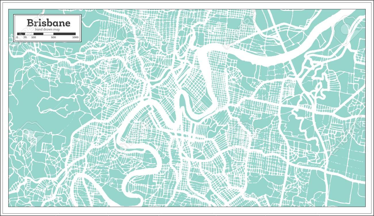Brisbane Map Australia.Brisbane Australia City Map In Retro Style Outline Map Vector