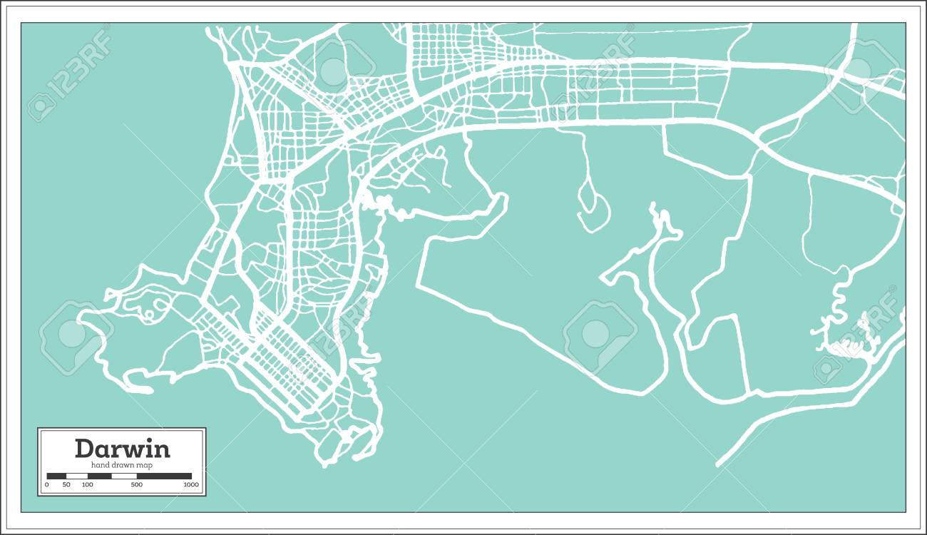 Darwin Map Of Australia.Darwin Australia City Map In Retro Style Outline Map Vector