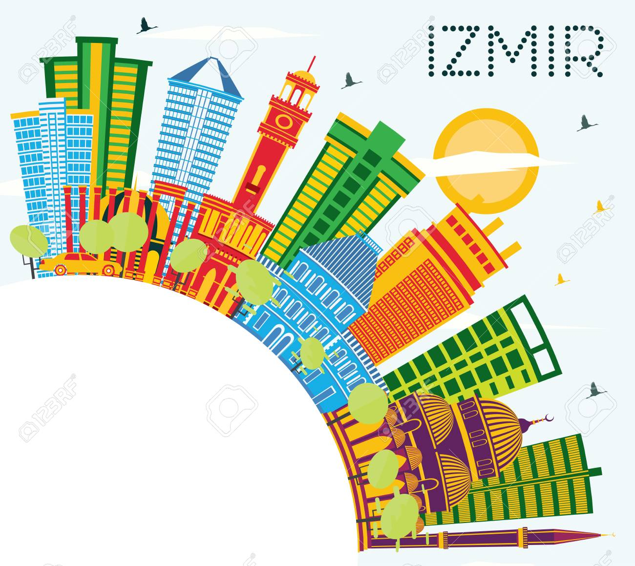 Izmir Turkey City Skyline With Color Buildings Blue Sky And Royalty Free Cliparts Vectors And Stock Illustration Image 118556508