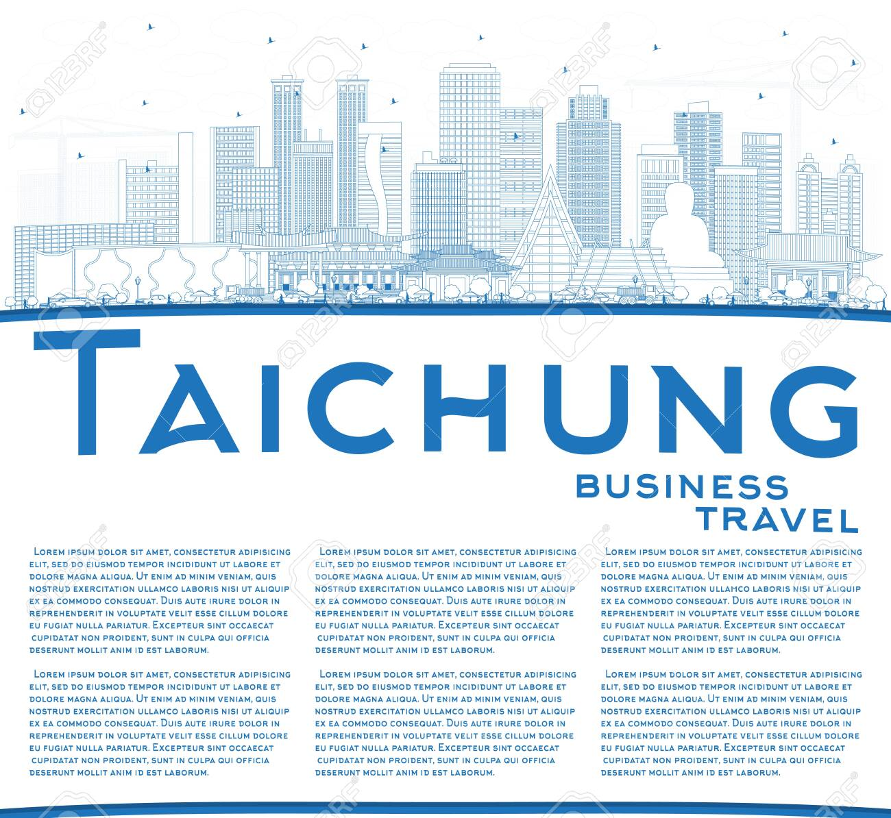 Outline Taichung Taiwan City Skyline with Blue Buildings and Copy Space. Vector Illustration. Business Travel and Tourism Concept with Historic Architecture. Taichung China Cityscape with Landmarks. - 124059777