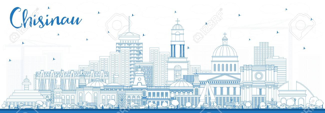 Outline Chisinau Moldova City Skyline with Blue Buildings. Vector Illustration. Business Travel and Tourism Concept with Historic Architecture. Chisinau Cityscape with Landmarks. - 140325022