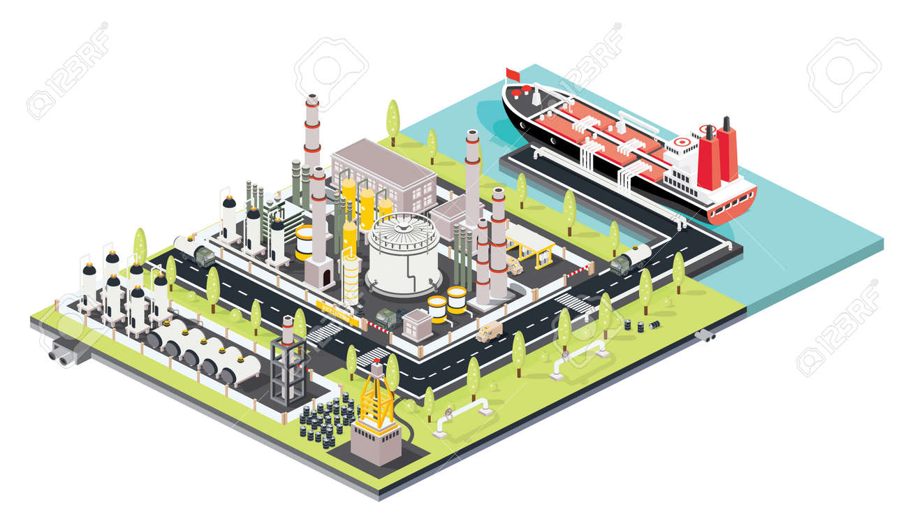 Refinery Plant. Oil Tank Farm. Maritime Port with Oil Tanker Moored at an Oil Storage Silo Terminal. Oil Petroleum Industry. Isometric Concept. Vector Illustration. Industrial Sea Port. - 169012118