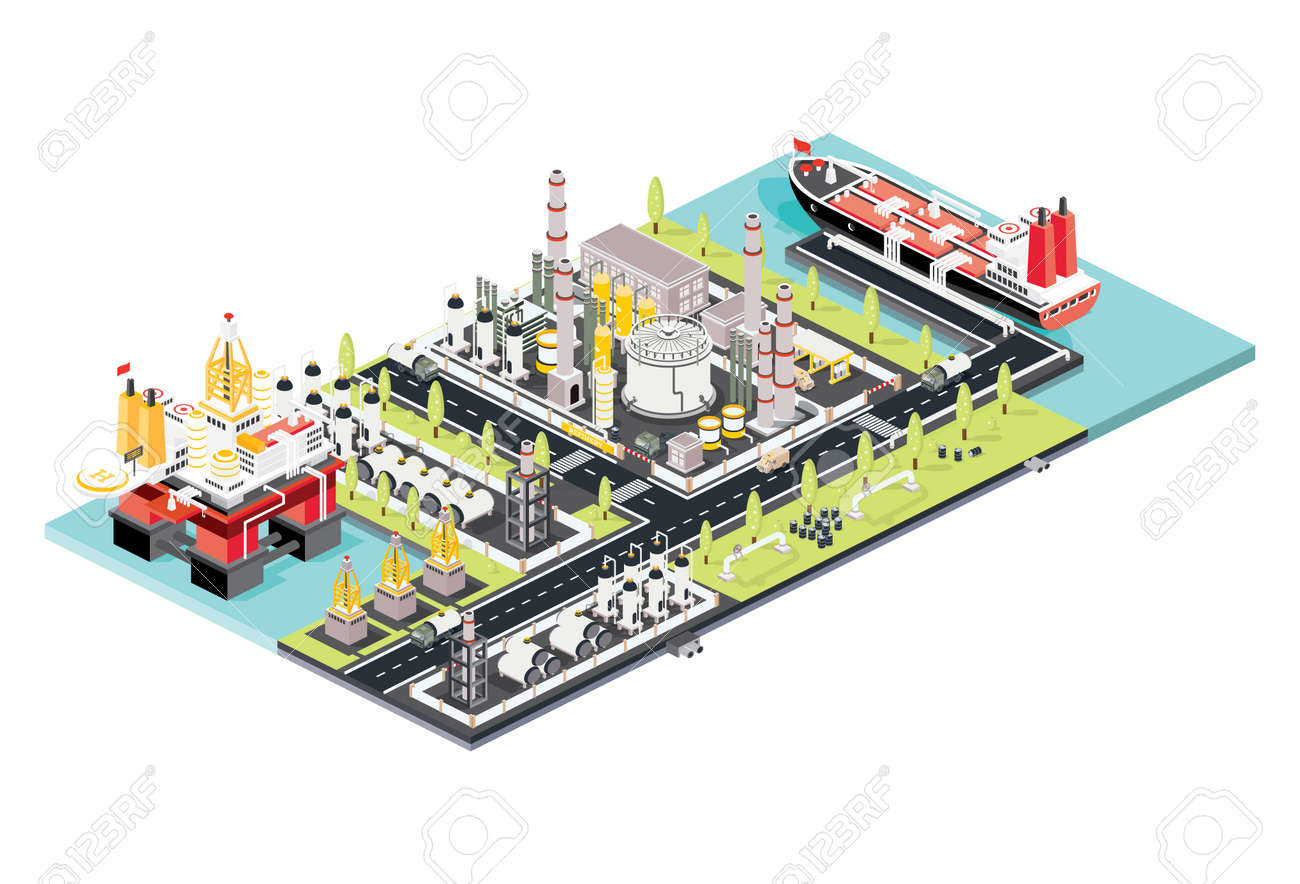 Refinery Plant. Isometric Oil Tank Farm. Offshore Oil Rig. Maritime Port with Oil Tanker Moored at an Oil Storage Silo Terminal. Oil Petroleum Industry. Vector Illustration. Industrial Sea Port. - 169596750