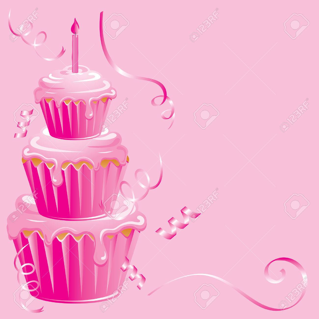 Pink Cupcake Birthday Party On Pink Background With Ribbon Streamers
