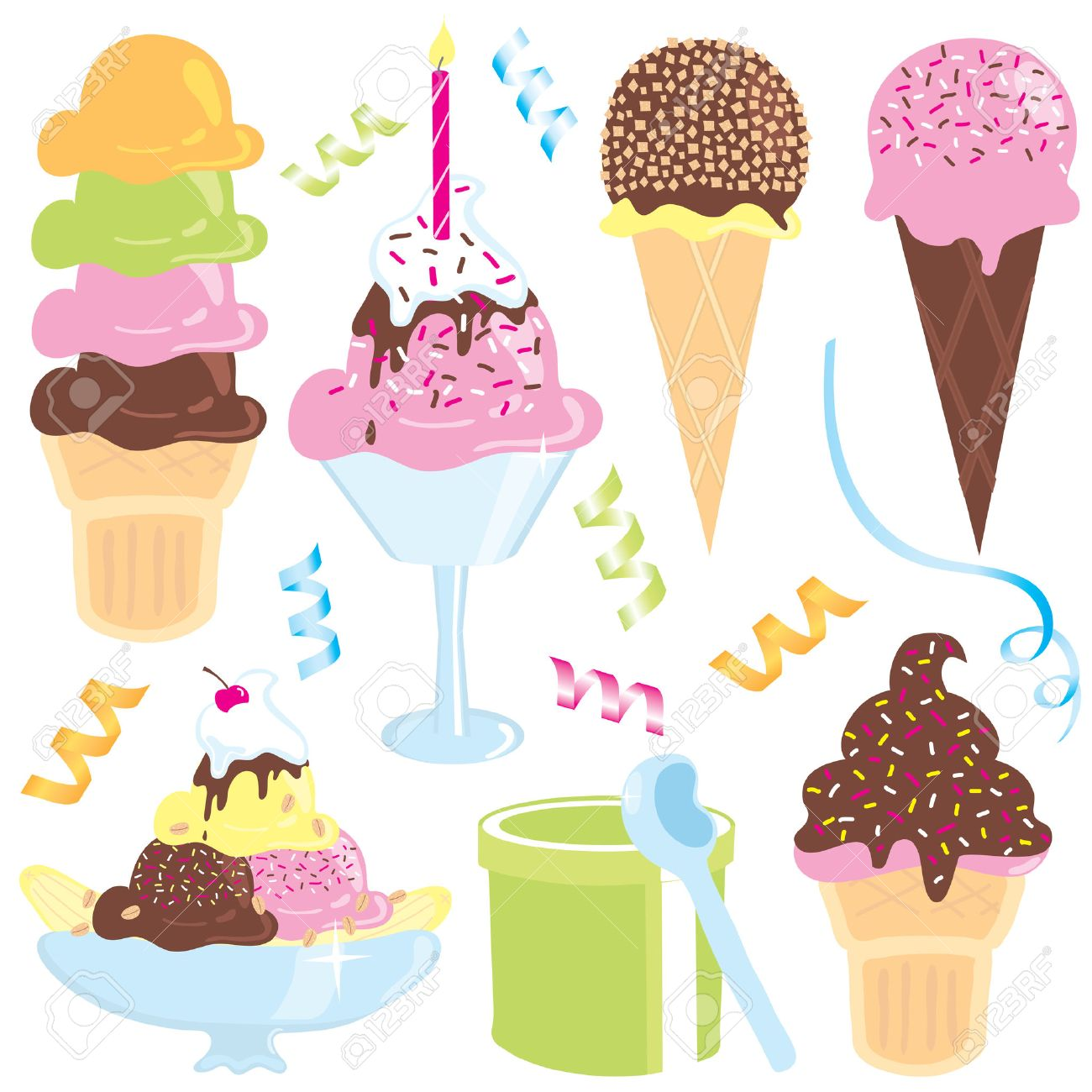ice cream sundae, banana split, cones, streamers and confetti Stock Vector - 4491520