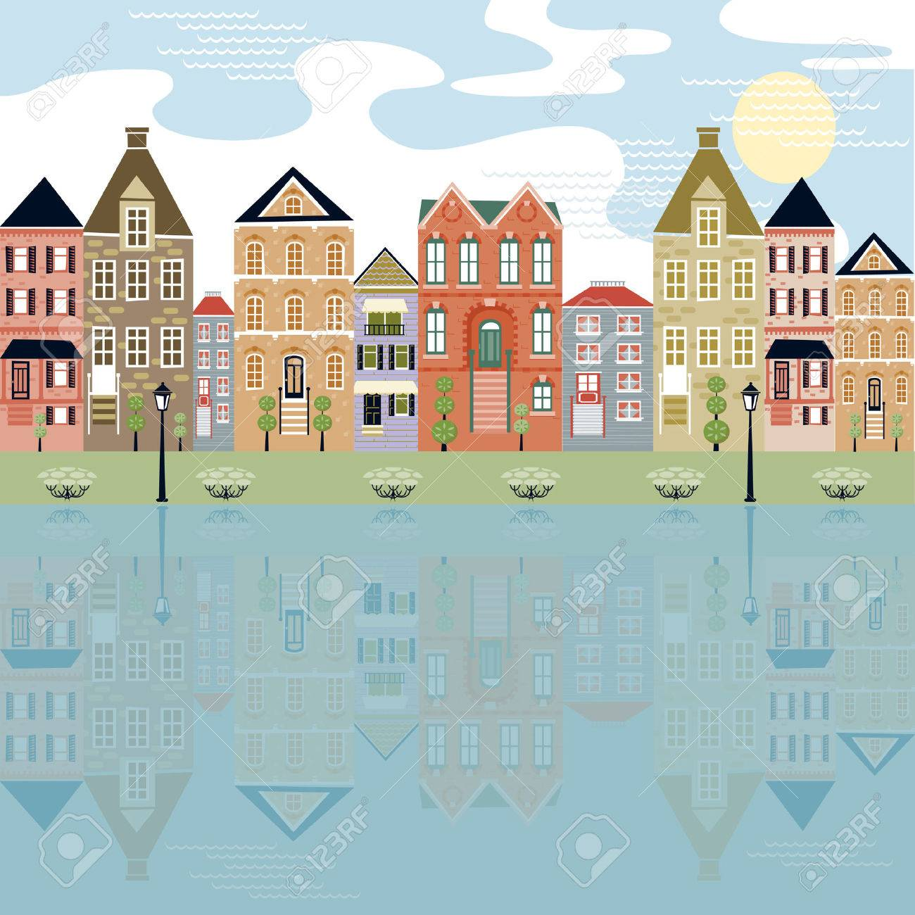 Cityscape on the waterfront with reflection of cute buildings Stock Vector - 4550379