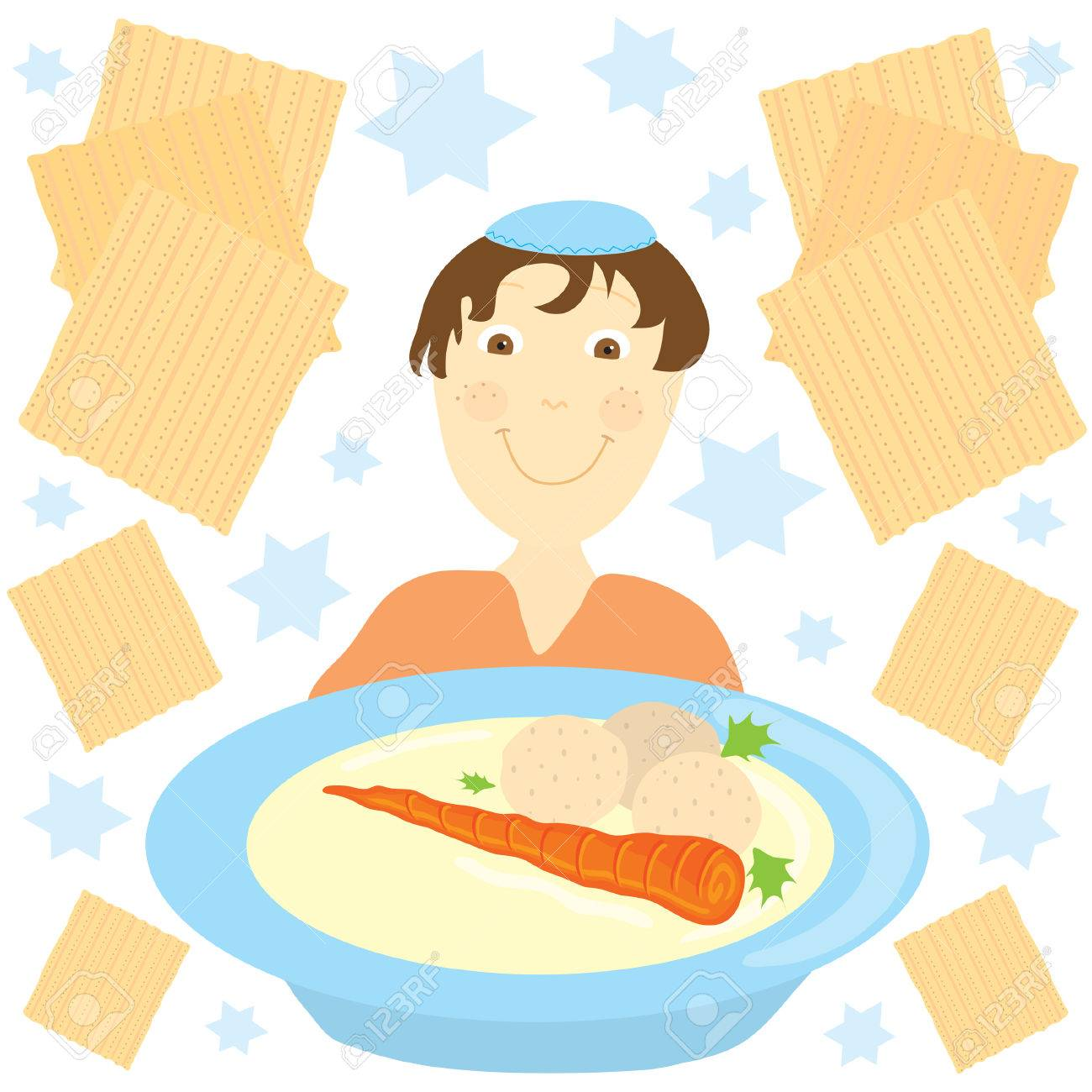 Jewish boy with a big bowl of matzo ball soup surrounded by matzos and jewish stars Stock Vector - 4653433