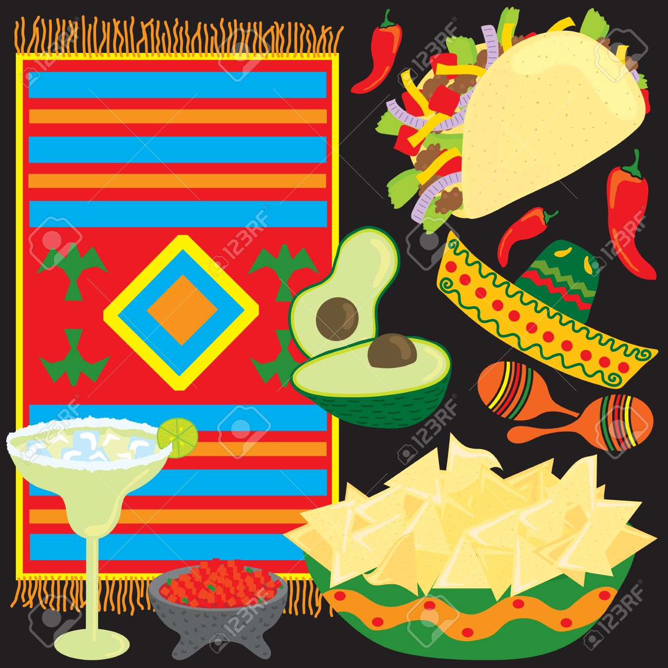 Mexican Fiesta Party Elements individually grouped Stock Vector - 4690796