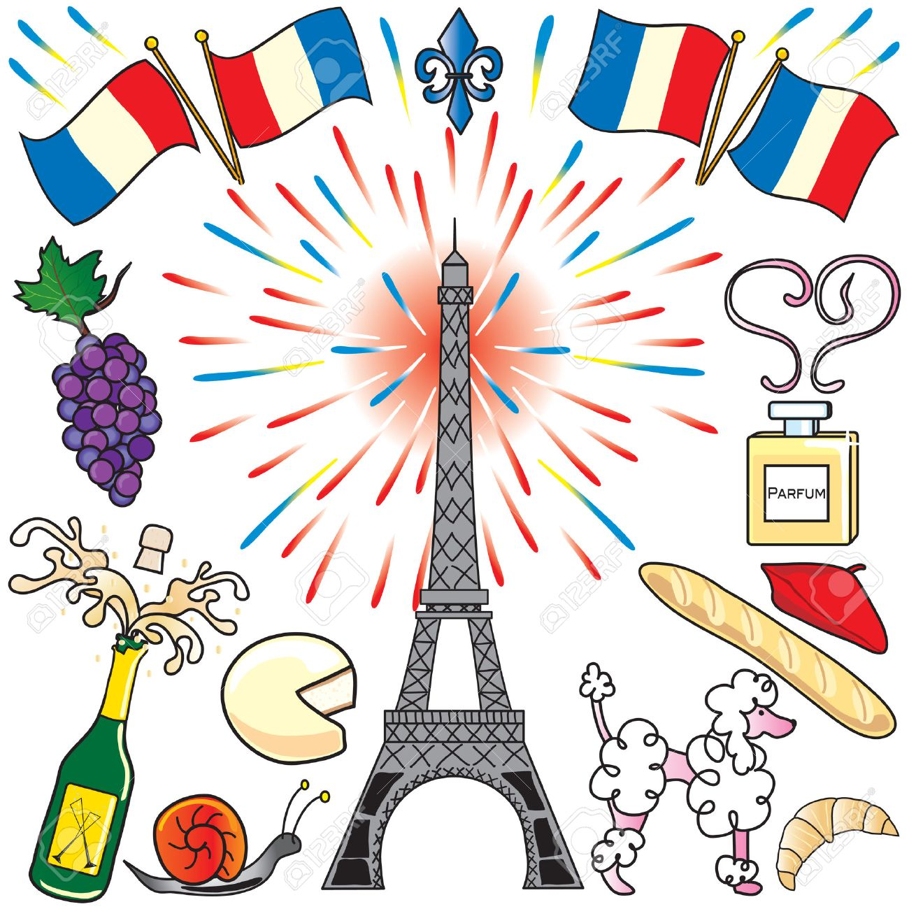 Create your own parisian party with the Eiffel Tower, fireworks, french flags, food and champagne. Perfect for Bastille Day! Stock Vector - 4871877