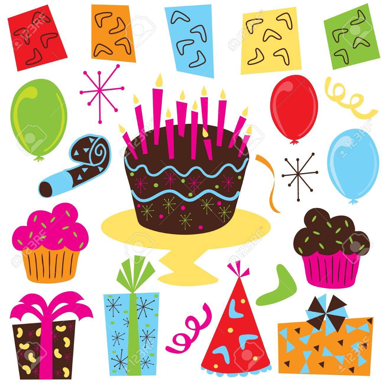 Retro Birthday Party Clipart With Birthday Cake Cupcakes