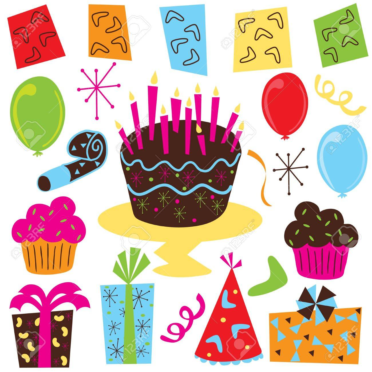 Retro Birthday Party clipart with birthday cake, cupcakes, balloons, streamers, party favors, presents and 1950's symbols Stock Photo - 4945296
